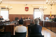 La administradora de Aceitunas Tatis, Gracia Rodríguez Cortés, y el ex presidente de Invercaria, Pérez-Sauquillo, durante el juicio.