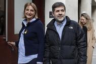 El ex presidente de la ANC, Jordi Sànchez, en febrero, tras su salida de prisión para ejercer un voluntariado.