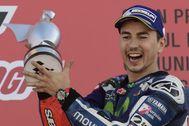 Jorge Lorenzo, tras ganar un Gran Premio con Yamaha.