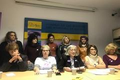 Representantes del Movimiento Feminista de Madrid, en una comparecencia pública.