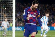 GRAF3154. BARCELONA.- El delantero argentino Lionel lt;HIT gt;Messi lt;/HIT gt; del Barcelona, celebra su gol ante la Real Sociedad durante el partido correspondiente a la jornada 27 de LaLiga Santander, que se disputa este sábado en el estadio Camp Nou de Barcelona.