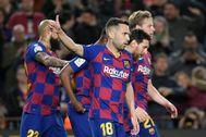 Jordi Alba, durante el partido contra la Real Sociedad.