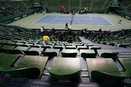 Spectator's stands are seen empty during a lt;HIT gt;tennis lt;/HIT gt; match between Japan and Ecuador in a Davis Cup qualifier which is taking behind closed doors amid the spread of the new lt;HIT gt;coronavirus lt;/HIT gt;, in Miki