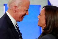 FILE PHOTO: Candidates former Vice President Joe Biden and U.S. Senator lt;HIT gt;Kamala lt;/HIT gt; Harris take the stage on the second night of the second 2020 Democratic U.S. presidential debate in Detroit