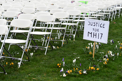 Family members of victims of the lt;HIT gt;MH17 lt;/HIT gt; crash protest outside the Russian Embassy in The Hague