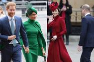 Harry, Meghan, Kate y Harry, este lunes a su llegada a la misa.