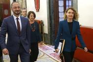 La presidenta del Congreso, Meritxell Batet, a su llegada a la reunión de la Mesa.