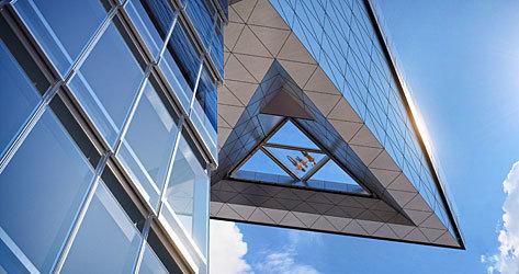 Perspectiva del suelo transparente del mirador.