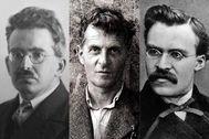 Los filósofos Walter Benjamin, Ludwig Wittgenstein y Nietzsche.