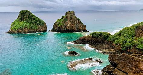 Los característicos montículos en el mar de este rincón brasileño.