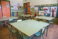 Un aula vacía por la suspensión de clases decretada en La Rioja.