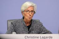 Christine Lagarde, presidenta del BCE, tras la reunión hoy en Fráncfort.