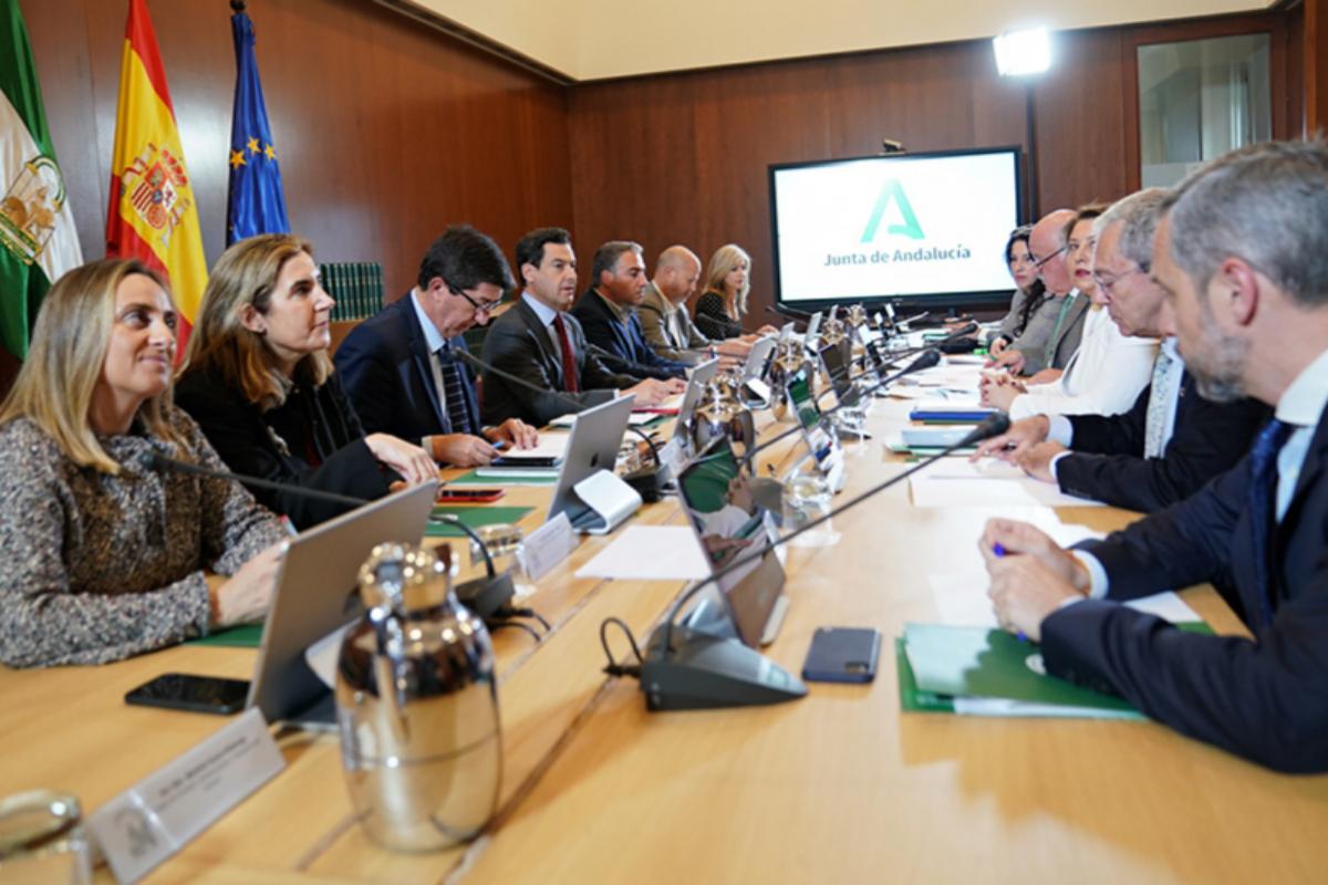Los consejeros de la Junta, durante la reunión extraordinaria celebrada ayer miércoles.
