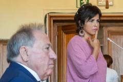 Teresa Rodríguez, en el juicio contra el empresario Manuel Muñoz, sentado en el banquillo.
