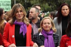 Begoña Gómez junto a miembros del Ejecutivo, el pasado domingo en la manifestación del 8-M.