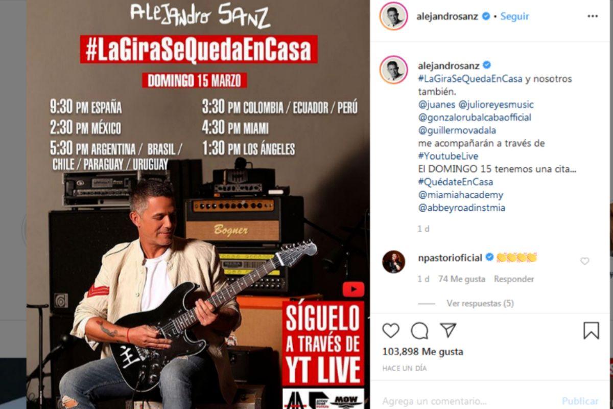 Resultado de imagen de alejandro sanz concierto virtual