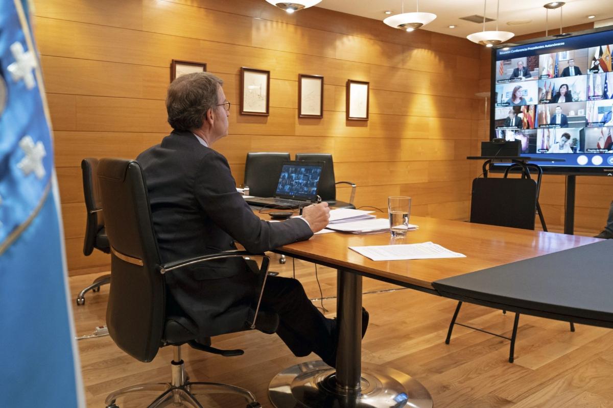 Alberto Núñez Feijóo, en la videoconferencia.
