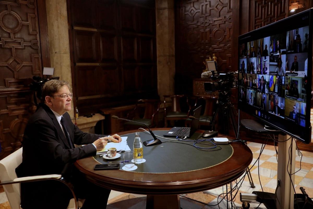 El presidente valenciano, Ximo Puig, en la conferencia telemática.