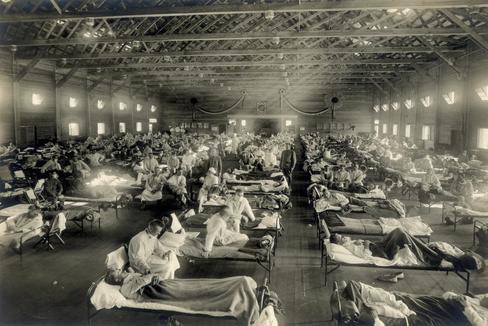 Un hospital de Kansas, en 1918.