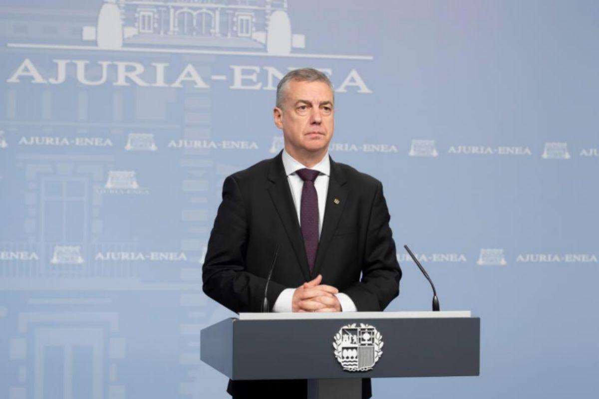 El lehendakari Iñigo Urkullu durante su última comparecencia pública el pasado domingo.