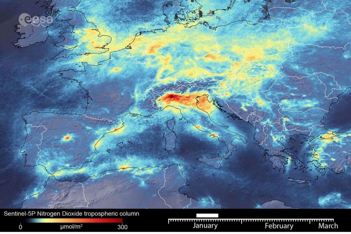 Niveles de polución en Europa en enero