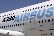 Fuselaje de un Airbus 380 en las instalaciones del grupo aeronáutico en Getafe.