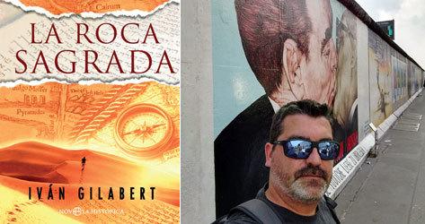 La portada de 'La roca sagrada' y el autor.