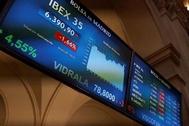 Sesión de cotización este miércoles en el Palacio de la Bolsa de Madrid.