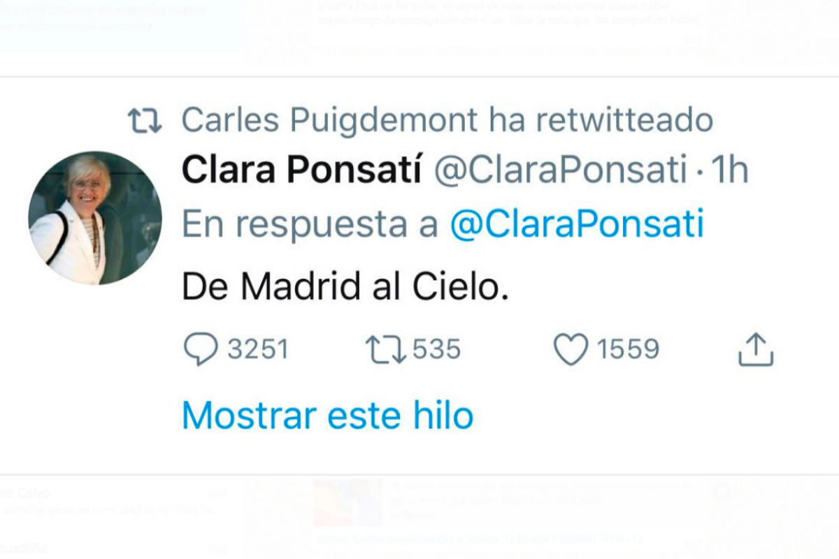 El tuit escrito por Ponsatí y retuiteado por Puigdemont.