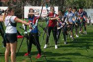 El equipo español de tiro con arco, en pleno entrenamiento en Turquía.