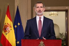 Felipe VI en un momento del mensaje que transmitió a España, este miércoles, por la crisis del coronavirus.