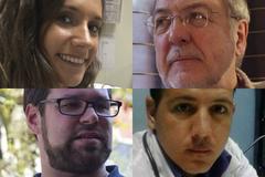 María, estudiante; el doctor Larrea, jubilado; Marck Mirte, enfermero y Armando, médico cubano.