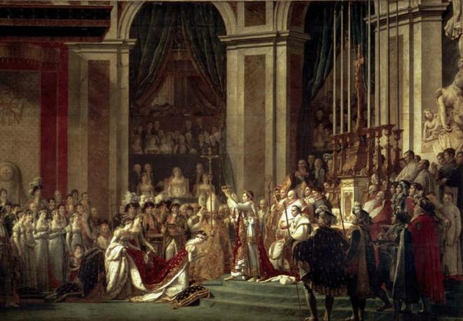 'La consagración de Napoleón' de Jacques-Louis David, en el Museo del Louvre.