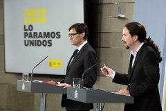 Pablo Iglesias, en su comparecencia de este jueves en La Moncloa con el ministro de Sanidad, Salvador Illa.