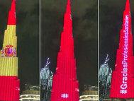 La bandera española en el Burj Khalifa de Dubai.