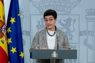 La ministra de Exteriores, Arancha González Laya, en la rueda de prensa telemática que ofreció el miércoles en el Palacio de La Moncloa.