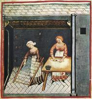 Imagen del siglo XIV de unas mujeres italianas preparando pasta.