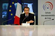 El presidente francés, Emmanuel Macron, hoy, en una reunión.