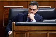 Pedro Sánchez, durante el pleno extraordinario para explicar la declaración del estado de alarma.