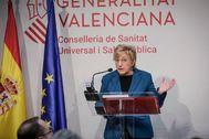 La consellera de Sanidad, Ana Barceló, durante una comparecencia.