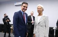 El presidente del Gobierno de España, Pedro Sánchez mantiene una reunión con Christine Lagarde.