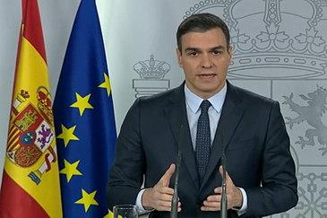 Pedro Sánchez, durante su comparecencia este domingo tras la videoconferencia con los presidentes autonómicos.