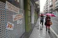 Un local comercial de Valladolid cerrado por la anterior crisis económica.