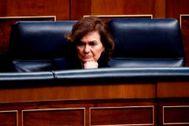 Carmen Calvo, en el pleno del Congreso celebrado la pasada semana.