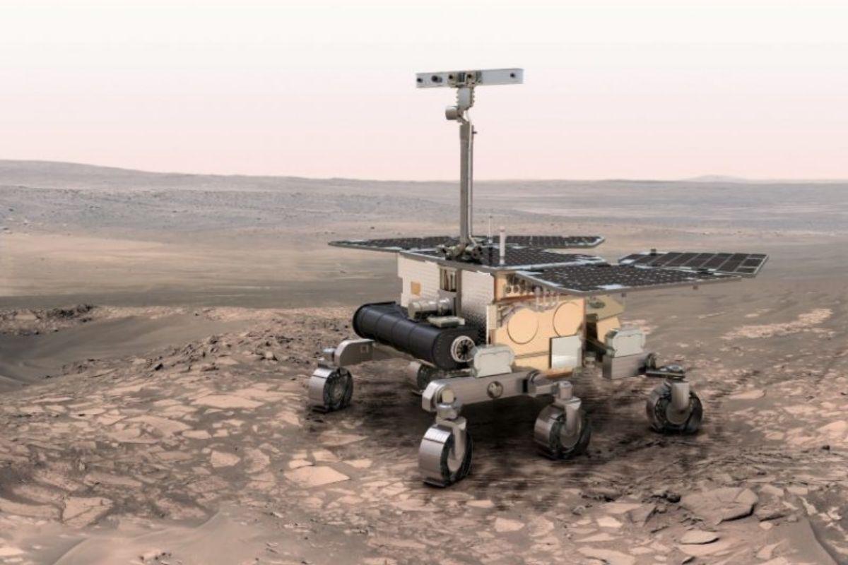 Recreación del todoterreno 'Rosalind Franklin' en la superficie de Marte.