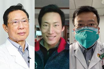 De izquierda a derecha: el neumólogo Zhang Nanshan, héroe nacional chino; Sun Natian, el rostro de uno de los pacientes; y el oftalmólogo Li Wenliang, primer mártir de la pandemia.