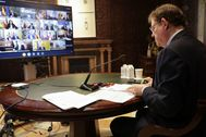 El presidente de la Generalitat, durante la videoconferencia con otros líderes autonómicos.