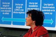La ministra de Educación, Isabel Celaá, en la presentación de su ley educativa.