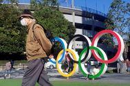 GRAF9505. TOKIO.- Un hombre protegido por una máscara para evitar posibles contagios da la espalda a los anillos lt;HIT gt;olímpicos lt;/HIT gt; instalados en Tokio. Los lt;HIT gt;Juegos lt;/HIT gt; lt;HIT gt;Olímpicos lt;/HIT gt; de Tokio 2020, llamados a ser un momento de orgullo para el país anfitrión, se han convertido en un foco de incertidumbre para los japoneses frente a la decisión del COI de continuar los preparativos para las fechas programadas pese a la pandemia del coronavirus.
