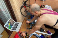 Fernando Alarza, durante un entrenamiento virtual esta semana en su casa.